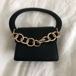 Mini Black Handbag with Gold Chain